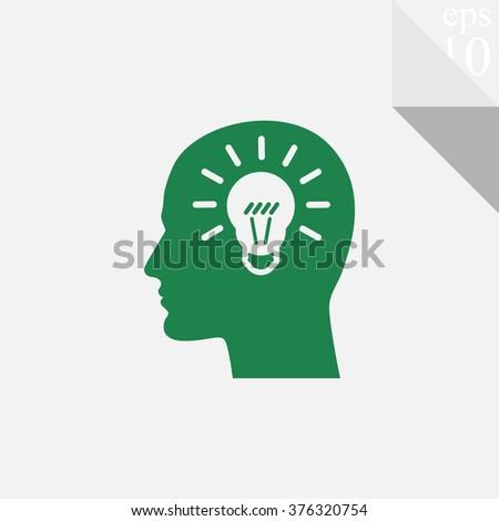 Human profile with bulb vector icon. Idea symbol. - stock vector