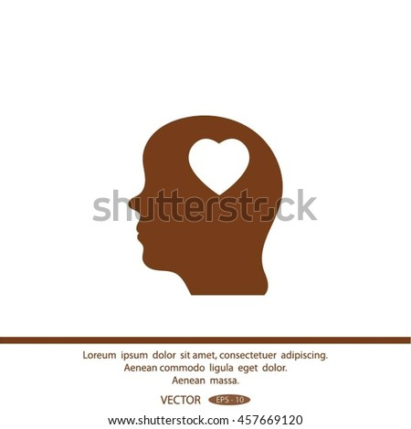 Human profile with heart - stock vector