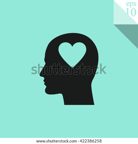 Human profile with heart Icon.  - stock vector