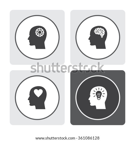 Human profile with mechanism vector icon. Head with brain vector icon. Male human head think symbol. Human profile with heart vector icon. Human profile with bulb vector icon. - stock vector