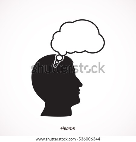 Human profile with speech bubble vector icon.