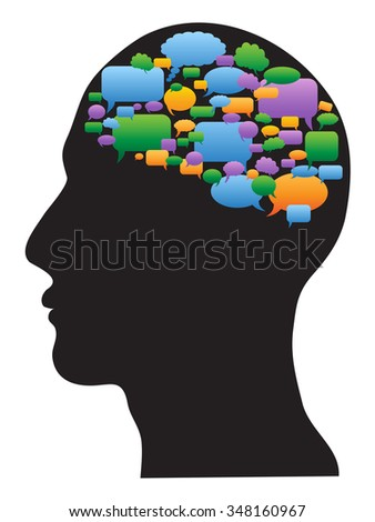 human profile with speech bubbles brain