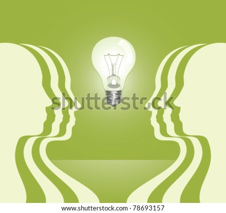 human profiles with light bulb between - stock vector