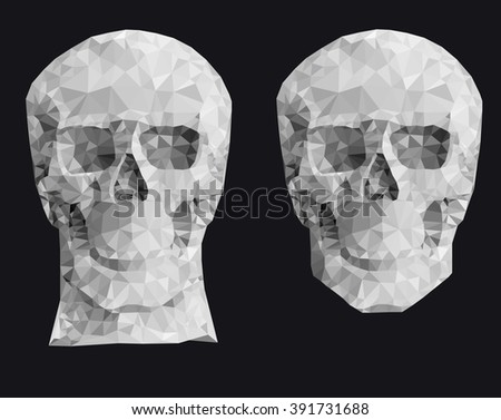 Human red skull on a black background in a manner a triangulation - stock vector