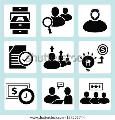 human resource and business management icons, vector - stock vector
