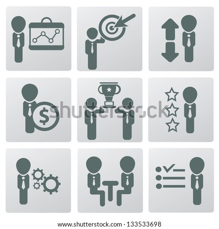 Human resource and management,icons,vector - stock vector