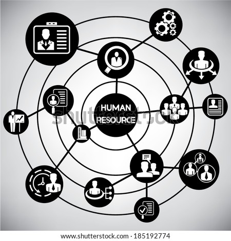 human resource and management network, info graphic - stock vector