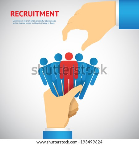 human resource and recruitment concept: hand select one persons of stack - stock vector