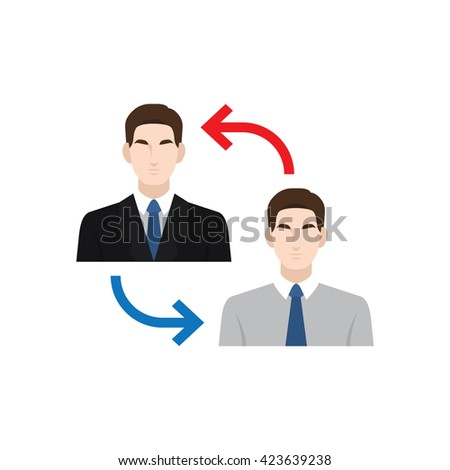 Human resource and recruitment icons set. Employment - cooperation/ transfer. Vector illustration.
