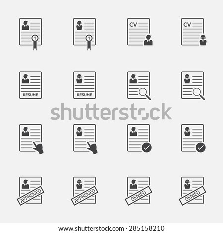 human resource and resume icon set. - stock vector