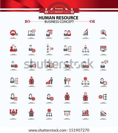 Human resource,business concept,icons,red version,vector - stock vector