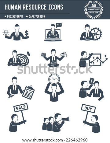 Human resource,Business concept on white background,dark version,clean vector