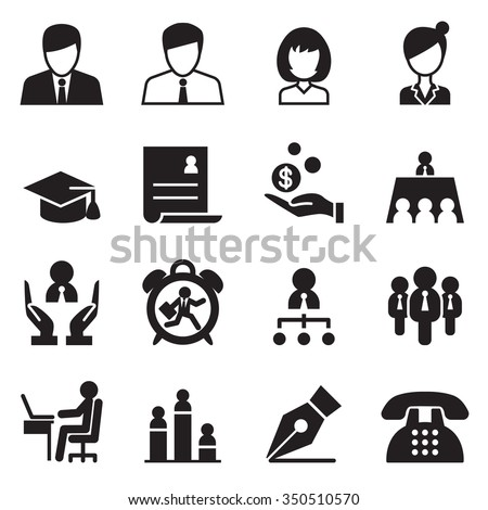 Human resource & Business Management icons set - stock vector