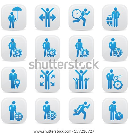 Human resource,Businessman icons,Blue version,vector