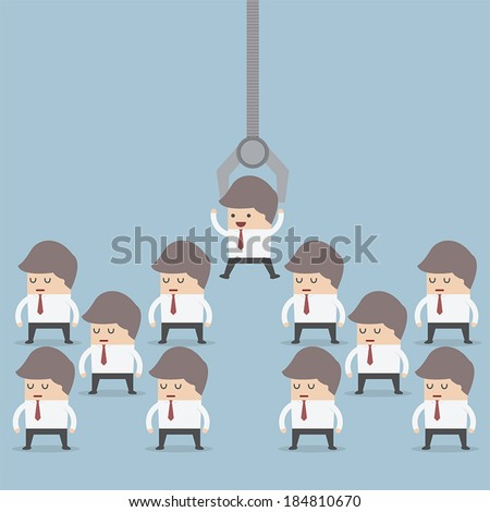 Human resource concept, Robotic claw pick businessman from a group, VECTOR, EPS10 - stock vector