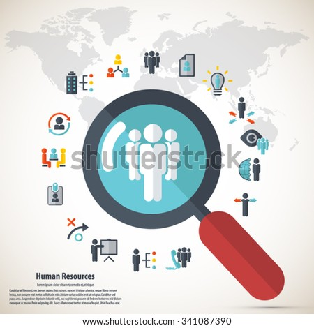 Human resource - conceptual background wit human resource related icon set and detailed world map background. - stock vector