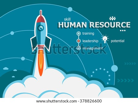 Human resource design and concept background with rocket. Human resource concepts for web banner and printed materials.