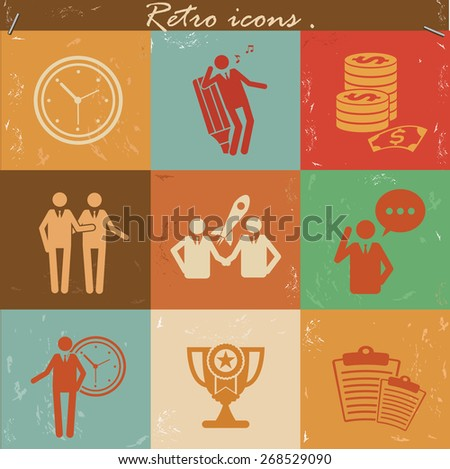Human resource icon set on retro background,clean vector - stock vector