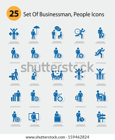Human resource icons,Blue version,vector