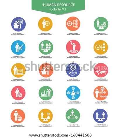 Human resource icons,Business concept,Colorful version 1,vector - stock vector