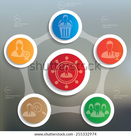 Human resource info graphic design on blur background - stock vector