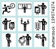 human resource management and business development icons set - stock vector