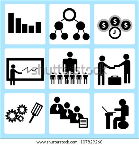 human resource management, company and organization icon set - stock vector