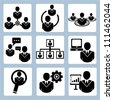 human resource management icon set - stock photo