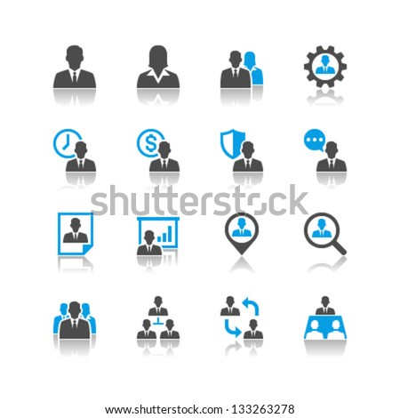 Human resource management icons reflection theme - stock vector
