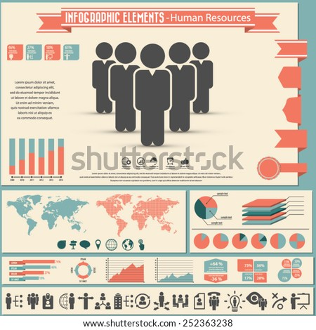 Human resource management - infographic elements and icons set. - stock vector