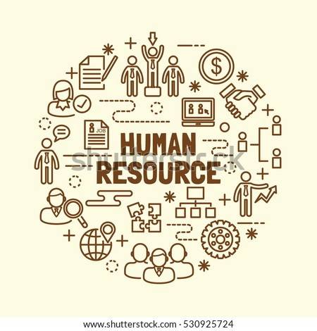 human resource minimal thin line icons set, vector illustration design elements