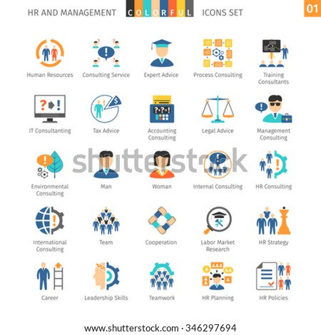 Human Resources And Management Flat Icons Set 01 - stock vector