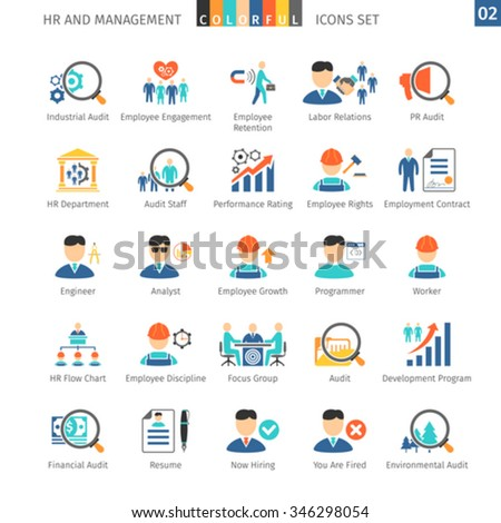 Human Resources And Management Flat Icons Set 02 - stock vector