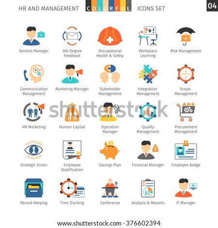 Human Resources And Management Flat Icons Set - stock vector