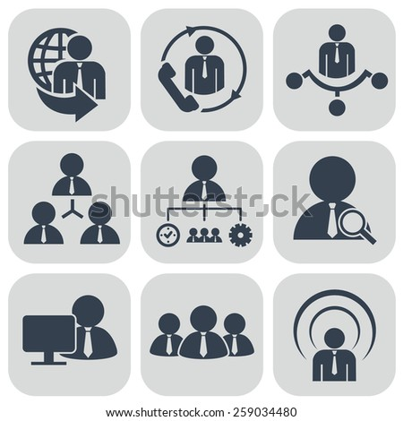 Human resources and management icons set - stock vector