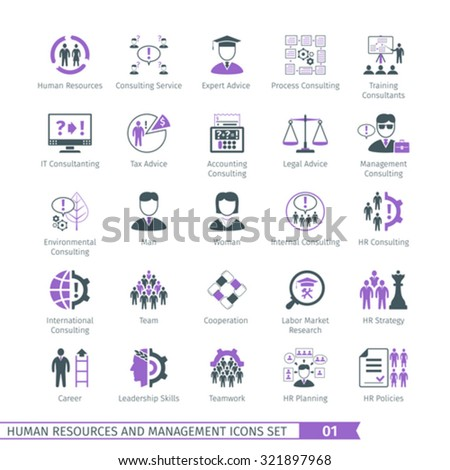 Human Resources And Management  Icons Set 01 - stock vector