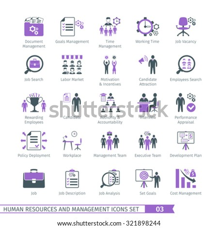 Human Resources And Management  Icons Set 03 - stock vector