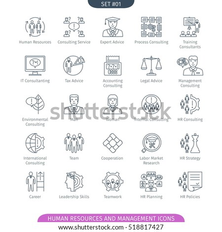 Human Resources And Management Icons Set. Linear style. Vector illustration.