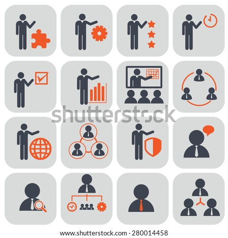 Human resources and management icons set. Vector ilustration - stock vector