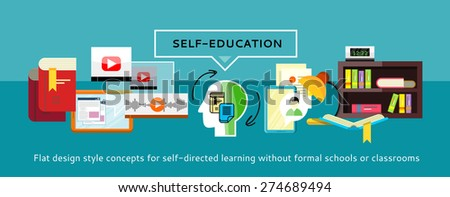 Human resources and self-education and development. Modern business concept with icons for self learning. Can be used for web banners, marketing and promotional materials, presentation templates  - stock vector