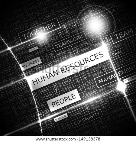 HUMAN RESOURCES. Background concept wordcloud illustration. Print concept word cloud. Graphic collage with related tags and terms. Vector illustration.  - stock vector