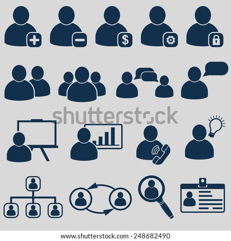Human Resources Business Icons - stock vector