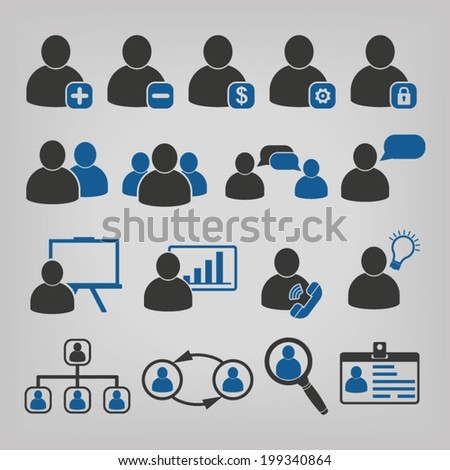 Human Resources Business Management Icons  - stock vector