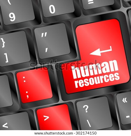 human resources button on computer keyboard key vector illustration