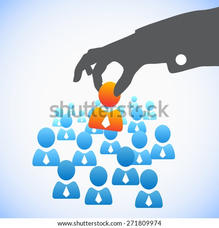 Human Resources concept: choosing the perfect candidate for the job - stock vector