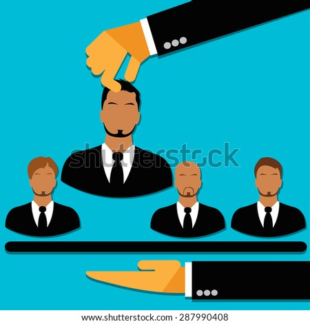 Human, resources, concept, vector, flat style for web  - stock vector