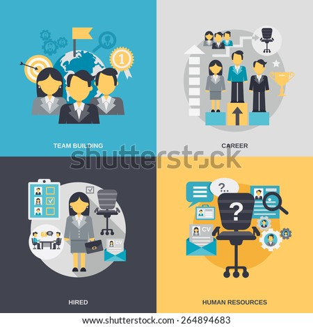 Human resources design concept set with team building career hired person flat icons isolated vector illustration