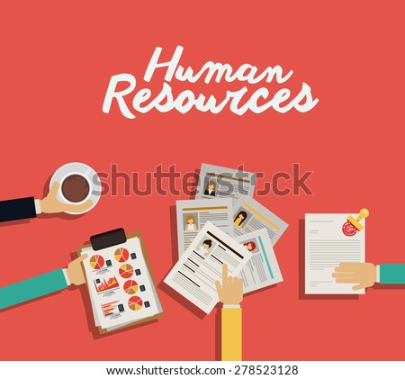 Human Resources design over red background, vector illustration - stock vector