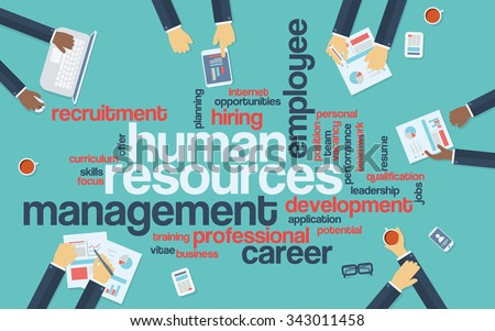 Human resources flat design infographics with word cloud. Recruitment and career development presentation. Eps10 vector illustration. - stock vector