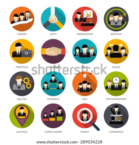 Human resources flat icons set with office hierarchy team management people rotation isolated vector illustration - stock vector